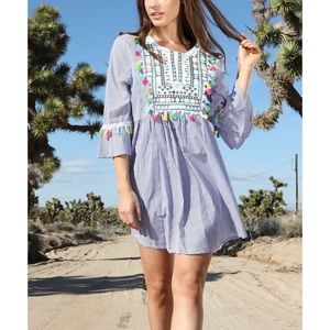 Amanda's Collection- Embroidered Striped Dress